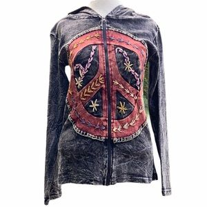 Jayli Peace Sign hooded zip up jacket, medium